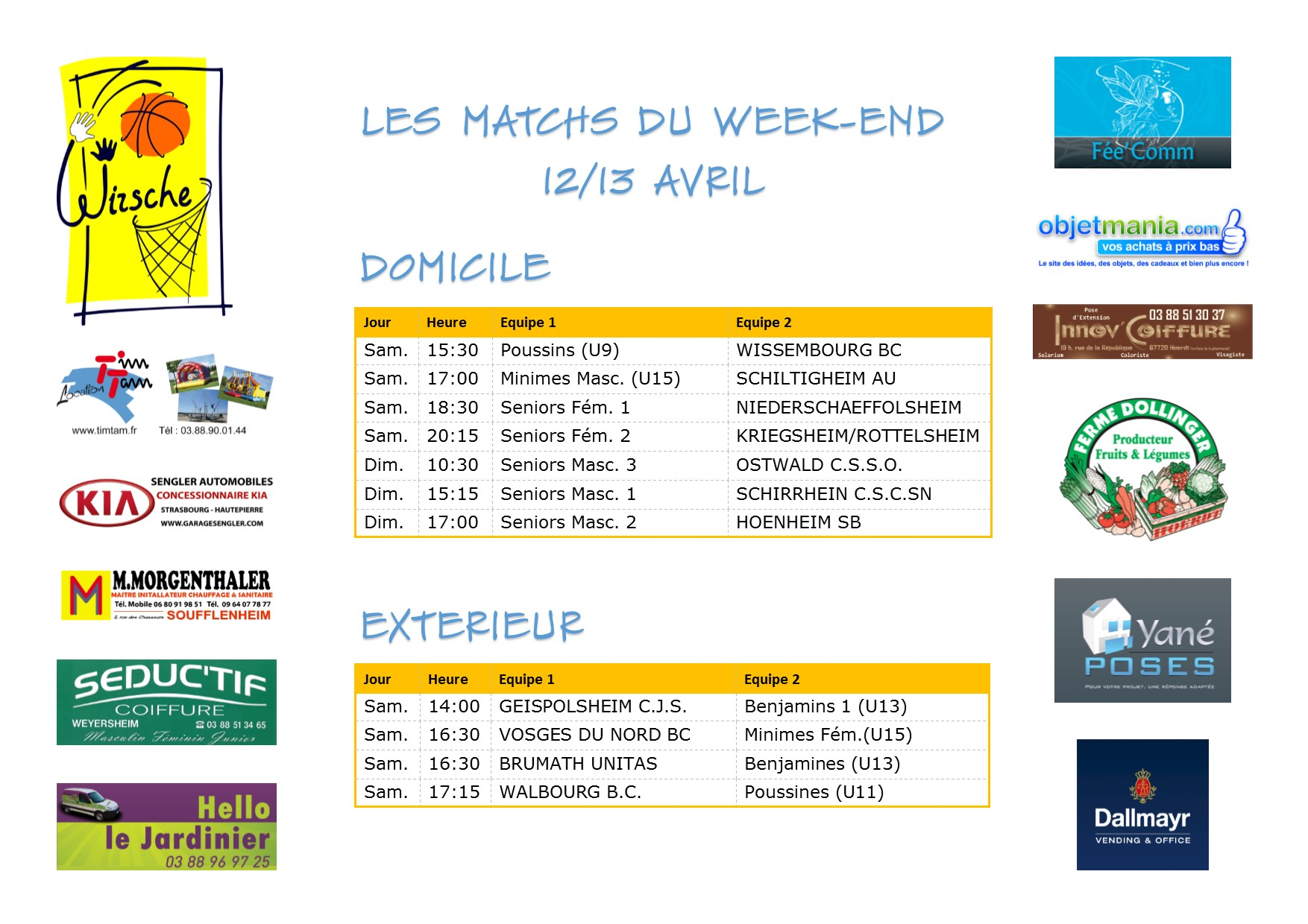 Matchs du week-end 12-13 avril