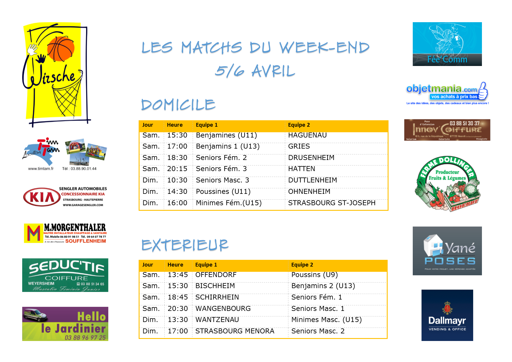 Matchs du week-end 5-6 avril